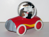 Snoopy in red sports car Snowglobe