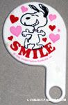 Snoopy with outstretched arms and hearts 'Smile' hand-held Mirror