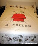 Snoopy & Woodstock on Doghouse 'Love is a Friend' Bedspread