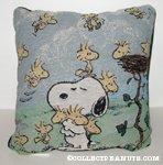 Snoopy hugging Woodstocks Tapestry Pillow