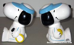 Snoopy sitting in with Tennis Racket and Ball Bookends
