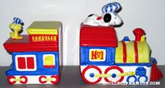 Snoopy on Train Engine & Woodstock on Caboose Bookends