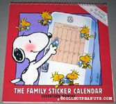 Snoopy & Woodstocks putting stickers on calendar Family Sticker Calendar 1989-1991