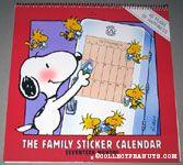 Snoopy & Woodstocks putting stickers on calendar Family Sticker Calendar 1989-1991