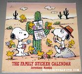 Snoopy, Spike & Woodstocks putting stickers on cactus Family Sticker Calendar 1991-1993