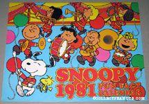 Snoopy leading Peanuts Band 1981 Fun Fact Calendar