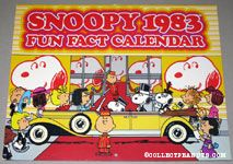 Peanuts Gang driving up to theatre in fancy car 1983 Fun Fact Calendar
