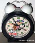 Snoopy & Charlie Brown on baseball dugout bench Alarm Clock