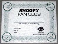 Snoopy Fan Club Membership Certificate 1983