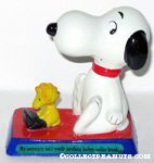 Woodstock at typewriter with Snoopy 'My secretary isn't worth anything before coffee break' Figurine