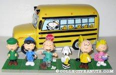 Peanuts Gang School Bus Bank and Figurine Set
