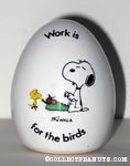 Snoopy at typewriter 'Work is for the birds' Egg Figurine