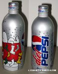 Snoopy & Woodstock on doghouse with stockings Diet Pepsi Aluminum Bottle