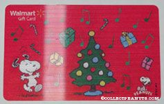 Snoopy dancing around Christmas Tree Walmart Gift Card