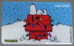 Snoopy on decorated doghouse Walmart Gift Card
