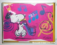 Snoopy playing saxaphone with musical notes Note Cards