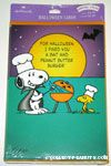 Snoopy & Woodstock grilling at pumpkin shaped grill Halloween Cards