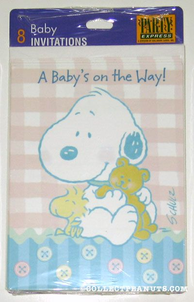 Peanuts invitations collectpeanuts baby snoopy woodstock a babys on the way shower invitations filmwisefo
