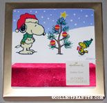 Woodstock bringing gift to Snoopy by Christmas Tree Christmas Cards