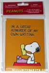Snoopy at typewriter 'I'm a great admirer of my own writing' Notecards