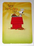 Chef Snoopy on doghouse with roasted turkey 'Hey! It's Turkey Day!' Hallmark Card