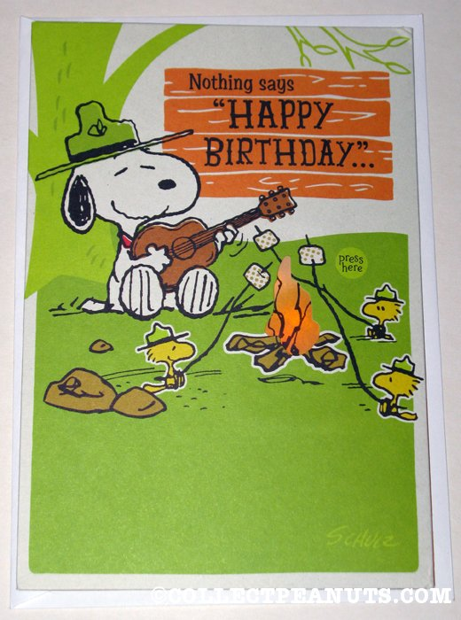Peanuts birthday cards collectpeanuts snoopy woodstock beaglescouts musical birthday greeting card bookmarktalkfo Gallery