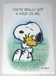 Snoopy hugging Woodstock Greeting Card