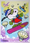 Snoopy & Woodstock snowboarding with parachuting eggs Easter Greeting Card