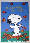 Snoopy with leaves Greeting Card