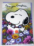 Snoopy in field of flowers 'Daughter' Greeting Card