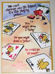 Snoopy & Woodstock playing poker 'In-laws' Greeting Card