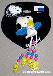 Snoopy hugging Woodstock with hanging Woodstocks on ribbon Elastic hair band