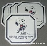 Snoopy in sports coat skating 'Redwood Empire Ice Arena, Santa Rosa, CA' set of 4 Coasters