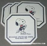 Snoopy in sports coat skating 'Redwood Empire Ice Arena, Santa Rosa, CA' set of 4 Coasters