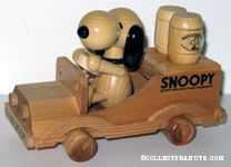 Snoopy driving car with Woodstock barrel Bottle Openers