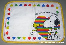 Snoopy & Woodstock with heart 'It's nice to have a friend' Fabric Placemat