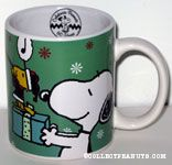 Snoopy holding Christmas Gift with Santa Woodstock  Mug