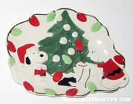 Santa Snoopy and Charlie Brown by Christmas Tree Canape Plate