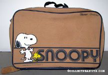 Snoopy and Woodstock standing next to name  Blue & Tan Suitcase