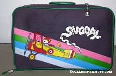 Flying Ace in Bi-plane skywriting 'Snoopy'  Blue & Green Suitcase