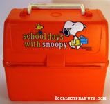 Snoopy eating and Snoopy with school supplies 'Lunchtime with Snoopy' & 'Schooldays with Snoopy' Orange dome Lunch Box