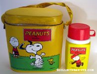 Snoopy & Woodstock dancing with Charlie Brown looking on Yellow Vinyl Lunch Box