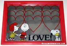 Peppermint Patty & Charlie Brown holding hands, Snoopy huggging Woodstock 'Love' Mirror