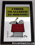 Snoopy laying on doghouse 'I think I'm allergic to mornings' Mirror