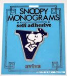 Snoopy with letter V Plastic Monogram