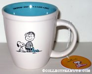 Snoopy sitting next to Linus 'Tomorrow I start with a clean blanket' Mug