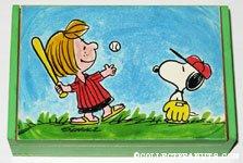 Peppermint Patty and Snoopy playing baseball Music Box