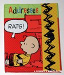 Charlie Brown leaning against mailbox 'Rats!' Address Book