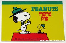 Beaglescout Snoopy & Woodstock on top of Doghouse Memo Pad