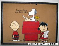 Charlie Brown, Lucy and Snoopy'It was a Dark and Stormy Night' Cork Board